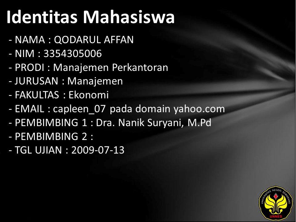 Identitas Mahasiswa - NAMA : QODARUL AFFAN - NIM : 3354305006 - PRODI : Manajemen Perkantoran - JURUSAN : Manajemen - FAKULTAS : Ekonomi - EMAIL : capleen_07 pada domain yahoo.com - PEMBIMBING 1 : Dra.