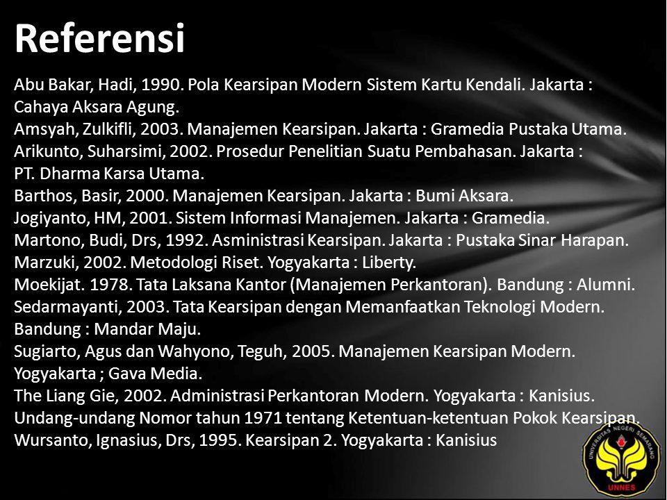 Referensi Abu Bakar, Hadi, 1990. Pola Kearsipan Modern Sistem Kartu Kendali. Jakarta : Cahaya Aksara Agung. Amsyah, Zulkifli, 2003. Manajemen Kearsipa