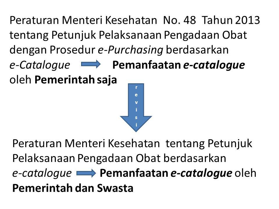 Peraturan Menteri Kesehatan tentang Petunjuk Pelaksanaan Pengadaan Obat berdasarkan e-catalogue Pemanfaatan e-catalogue oleh Pemerintah dan Swasta Per