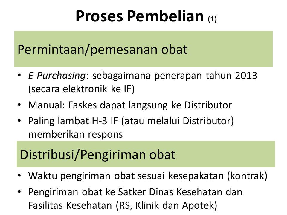 Permintaan/pemesanan obat E-Purchasing: sebagaimana penerapan tahun 2013 (secara elektronik ke IF) Manual: Faskes dapat langsung ke Distributor Paling