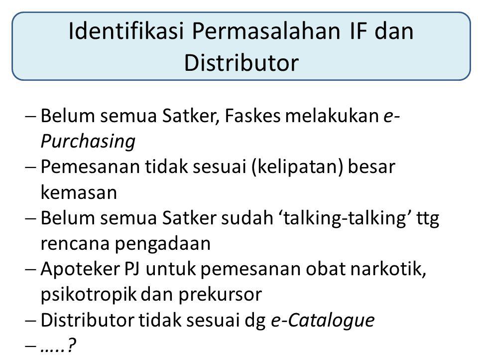 Identifikasi Permasalahan IF dan Distributor  Belum semua Satker, Faskes melakukan e- Purchasing  Pemesanan tidak sesuai (kelipatan) besar kemasan 