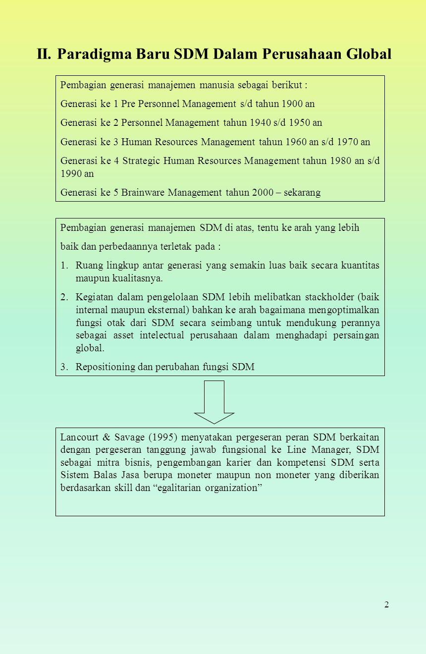 2 II. Paradigma Baru SDM Dalam Perusahaan Global Pembagian generasi manajemen manusia sebagai berikut : Generasi ke 1 Pre Personnel Management s/d tah