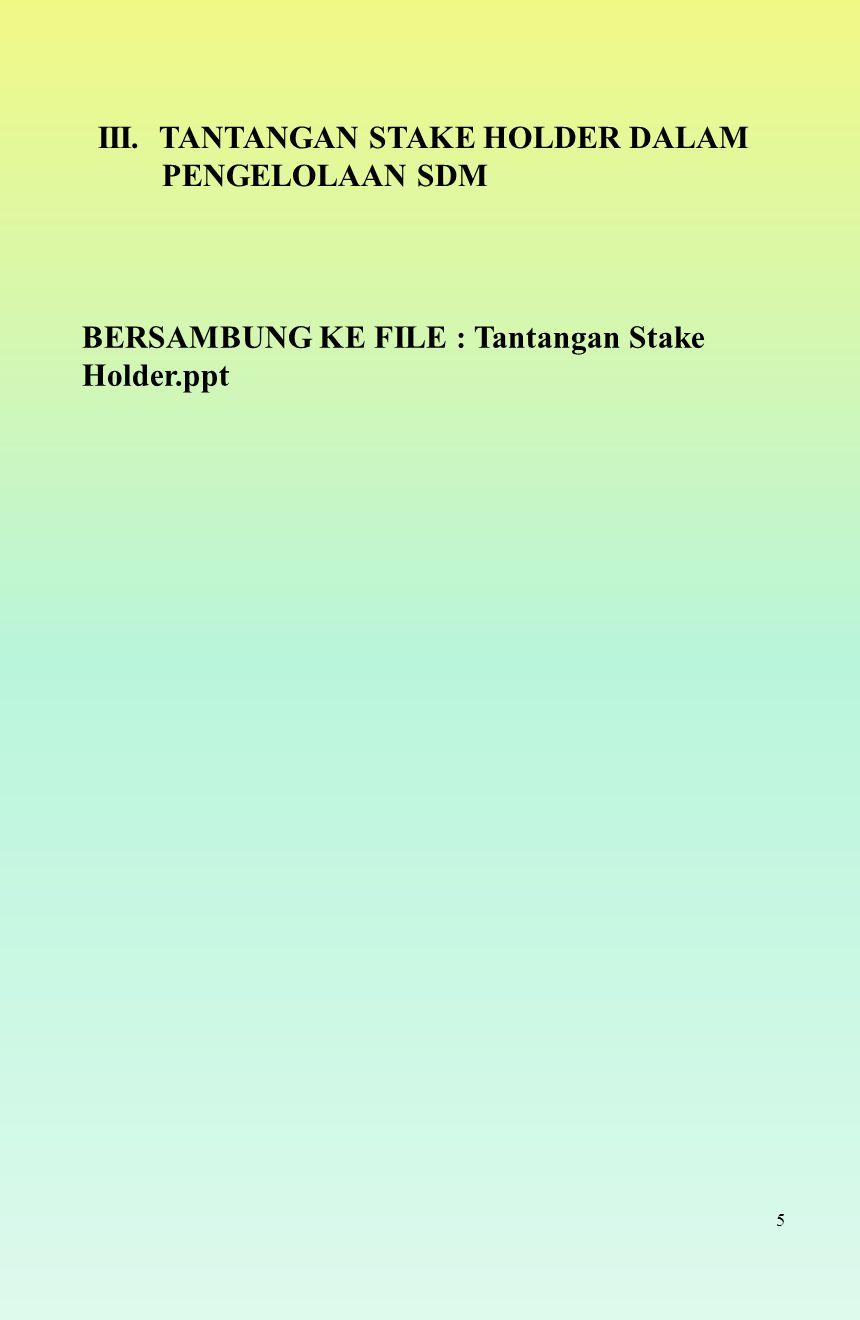 5 III. TANTANGAN STAKE HOLDER DALAM PENGELOLAAN SDM BERSAMBUNG KE FILE : Tantangan Stake Holder.ppt