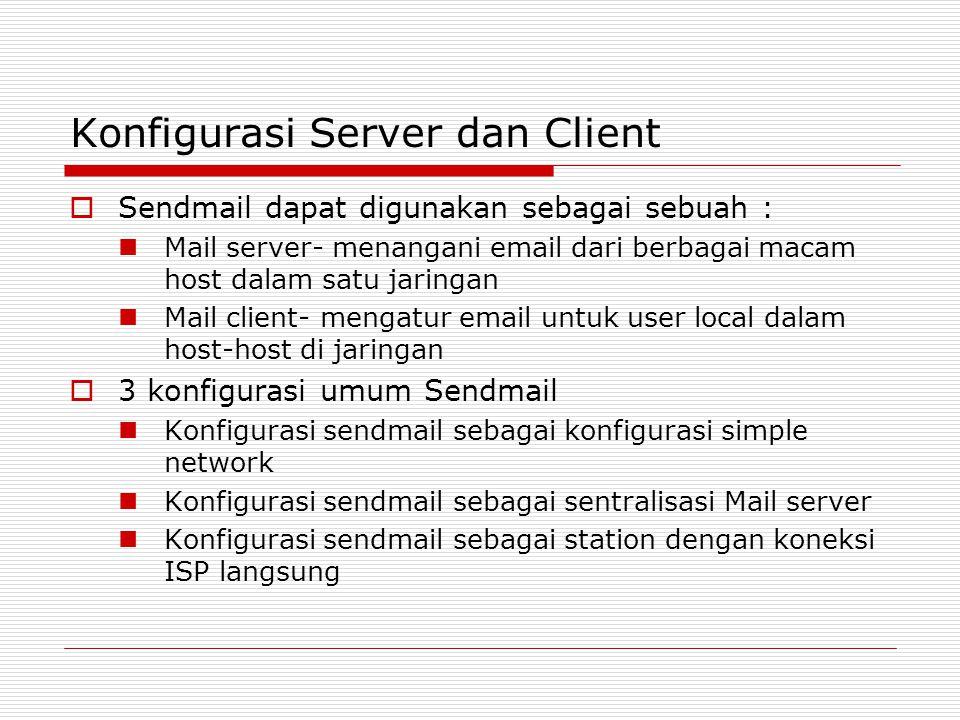 Konfigurasi Server dan Client  Sendmail dapat digunakan sebagai sebuah : Mail server- menangani email dari berbagai macam host dalam satu jaringan Ma