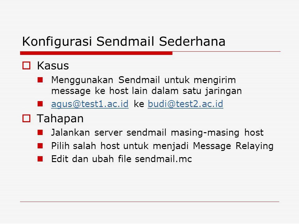 Konfigurasi Sendmail Sederhana  Kasus Menggunakan Sendmail untuk mengirim message ke host lain dalam satu jaringan agus@test1.ac.id ke budi@test2.ac.