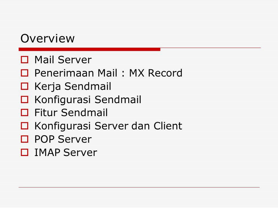 Overview  Mail Server  Penerimaan Mail : MX Record  Kerja Sendmail  Konfigurasi Sendmail  Fitur Sendmail  Konfigurasi Server dan Client  POP Se