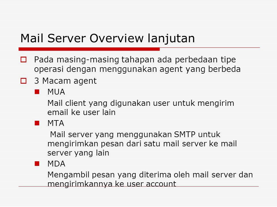Mail Server Overview lanjutan  Pada masing-masing tahapan ada perbedaan tipe operasi dengan menggunakan agent yang berbeda  3 Macam agent MUA Mail c