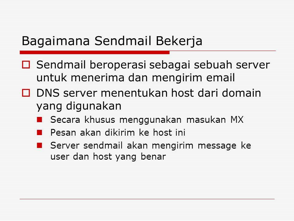 Bagaimana Sendmail Bekerja  Sendmail beroperasi sebagai sebuah server untuk menerima dan mengirim email  DNS server menentukan host dari domain yang