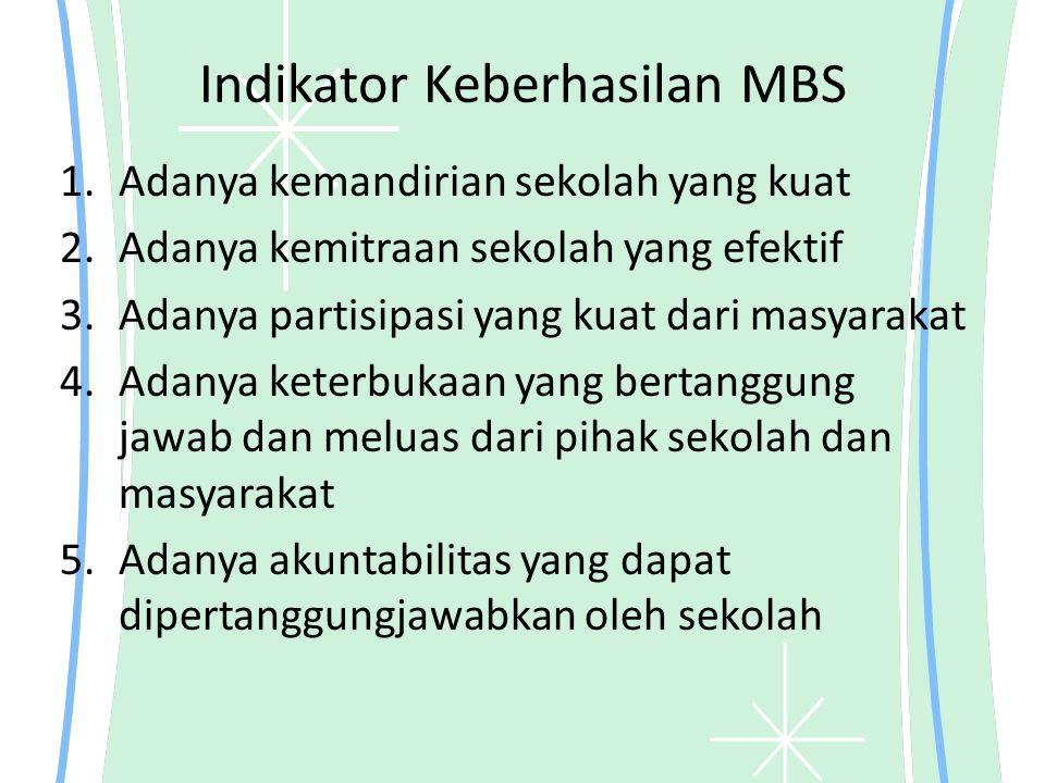 Indikator Keberhasilan MBS 1.Adanya kemandirian sekolah yang kuat 2.Adanya kemitraan sekolah yang efektif 3.Adanya partisipasi yang kuat dari masyarak