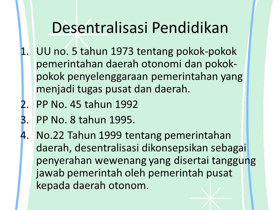 Desentralisasi Pendidikan 1.UU no. 5 tahun 1973 tentang pokok-pokok pemerintahan daerah otonomi dan pokok- pokok penyelenggaraan pemerintahan yang men