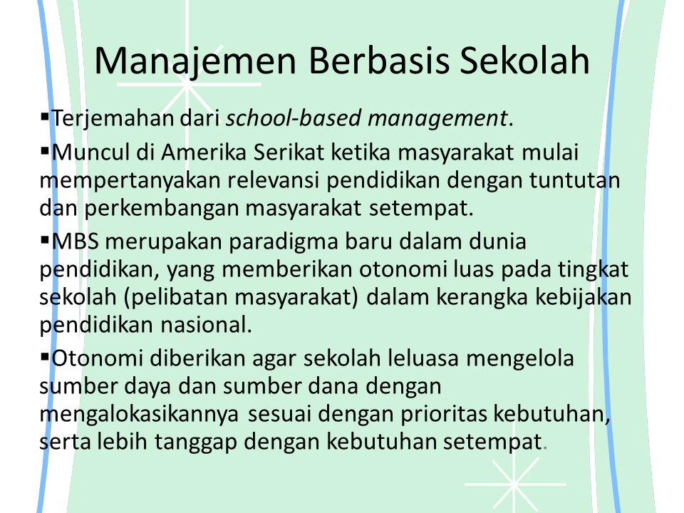 Manajemen Berbasis Sekolah  Terjemahan dari school-based management.  Muncul di Amerika Serikat ketika masyarakat mulai mempertanyakan relevansi pen