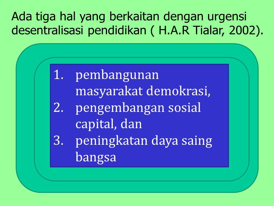 1.pembangunan masyarakat demokrasi, 2.pengembangan sosial capital, dan 3.peningkatan daya saing bangsa