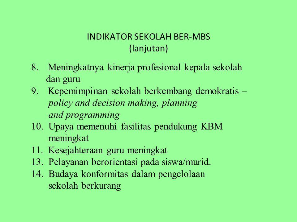 INDIKATOR SEKOLAH BER-MBS (lanjutan) 8. Meningkatnya kinerja profesional kepala sekolah dan guru 9.