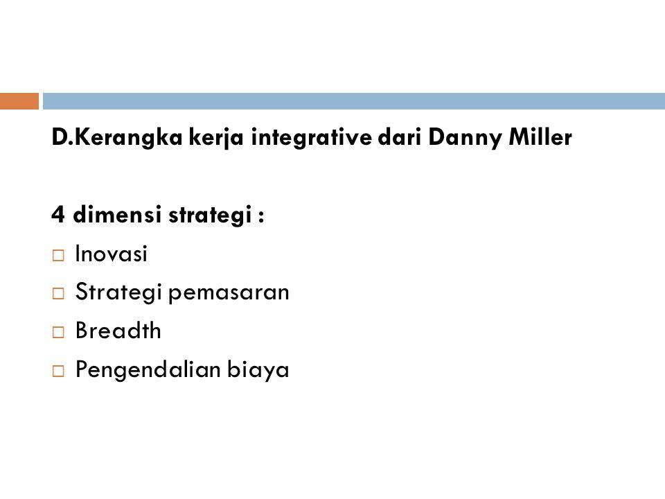 D.Kerangka kerja integrative dari Danny Miller 4 dimensi strategi :  Inovasi  Strategi pemasaran  Breadth  Pengendalian biaya