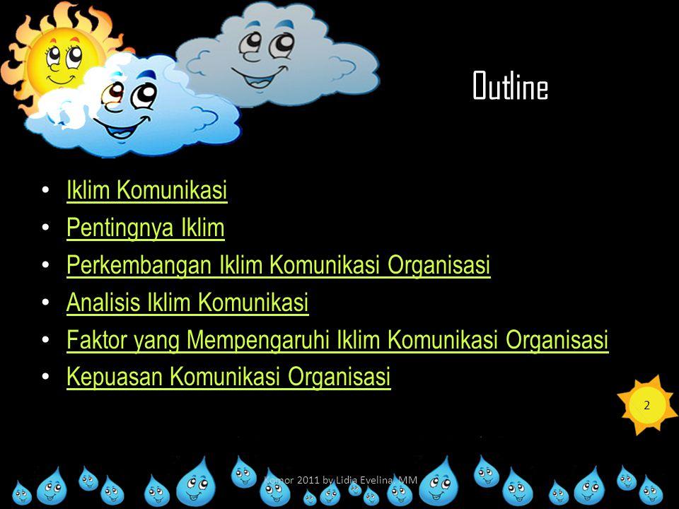 Outline Iklim Komunikasi Pentingnya Iklim Perkembangan Iklim Komunikasi Organisasi Analisis Iklim Komunikasi Faktor yang Mempengaruhi Iklim Komunikasi