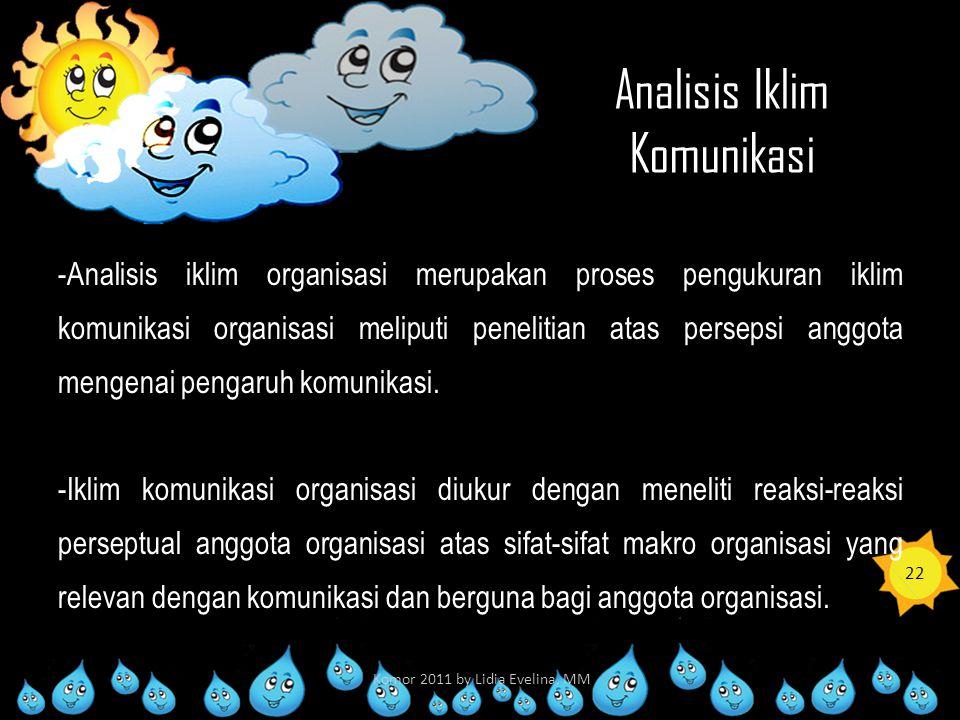 Analisis Iklim Komunikasi -Analisis iklim organisasi merupakan proses pengukuran iklim komunikasi organisasi meliputi penelitian atas persepsi anggota