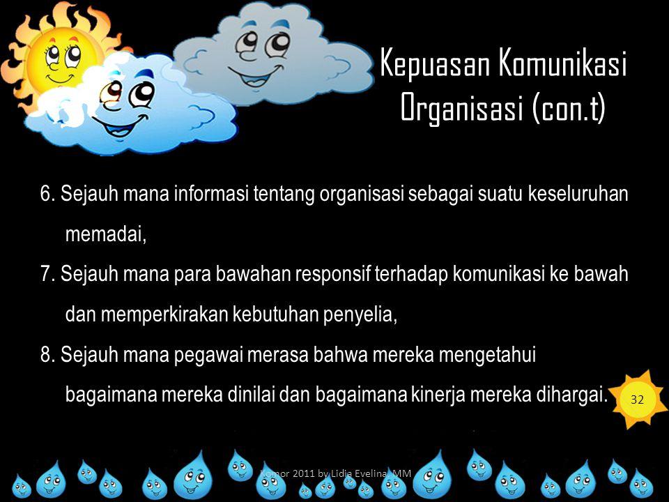 Kepuasan Komunikasi Organisasi (con.t) 6. Sejauh mana informasi tentang organisasi sebagai suatu keseluruhan memadai, 7. Sejauh mana para bawahan resp