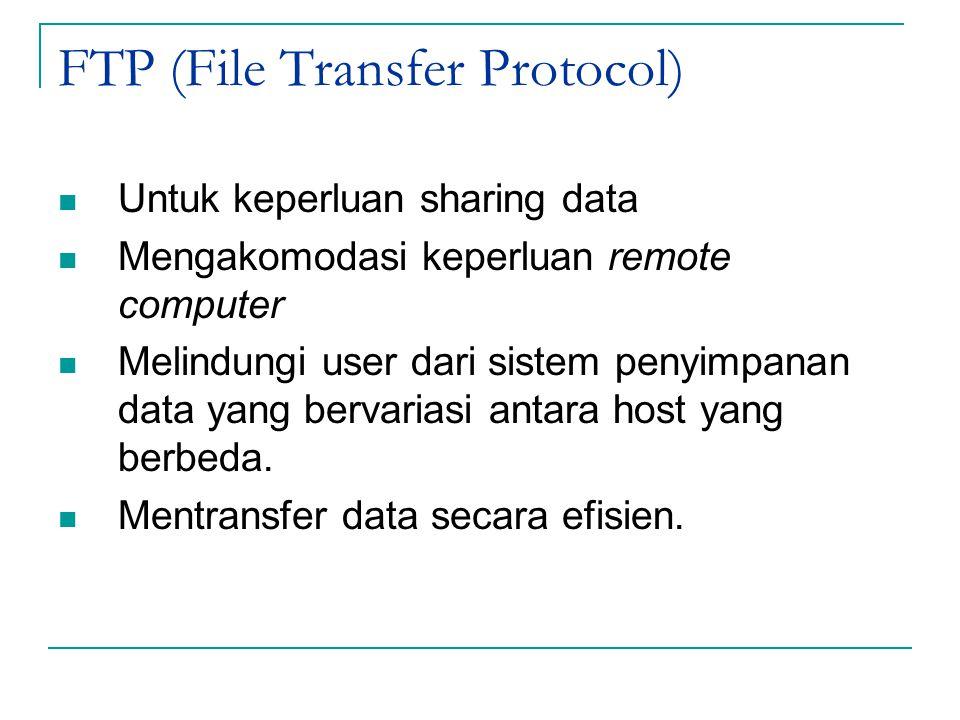 FTP (File Transfer Protocol) Untuk keperluan sharing data Mengakomodasi keperluan remote computer Melindungi user dari sistem penyimpanan data yang be