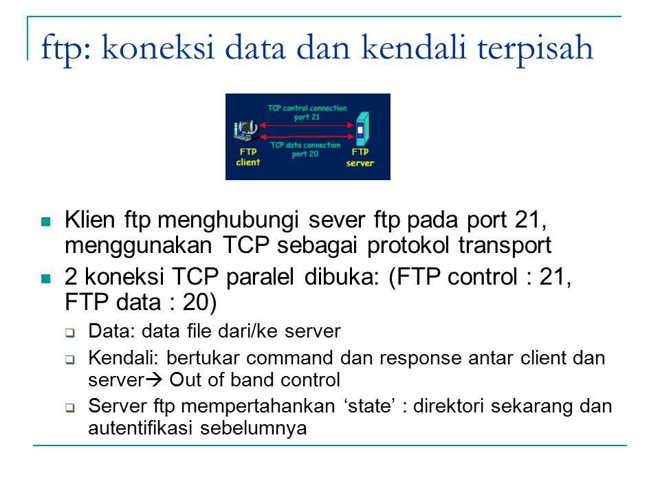 ftp: koneksi data dan kendali terpisah Klien ftp menghubungi sever ftp pada port 21, menggunakan TCP sebagai protokol transport 2 koneksi TCP paralel dibuka: (FTP control : 21, FTP data : 20)  Data: data file dari/ke server  Kendali: bertukar command dan response antar client dan server  Out of band control  Server ftp mempertahankan 'state' : direktori sekarang dan autentifikasi sebelumnya