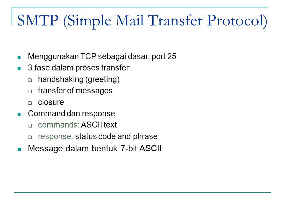 SMTP (Simple Mail Transfer Protocol) Menggunakan TCP sebagai dasar, port 25 3 fase dalam proses transfer:  handshaking (greeting)  transfer of messages  closure Command dan response  commands: ASCII text  response: status code and phrase Message dalam bentuk 7-bit ASCII