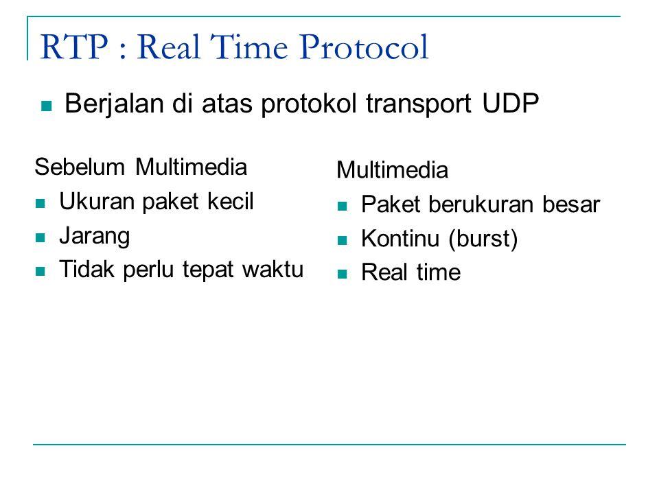 RTP : Real Time Protocol Berjalan di atas protokol transport UDP Sebelum Multimedia Ukuran paket kecil Jarang Tidak perlu tepat waktu Multimedia Paket berukuran besar Kontinu (burst) Real time