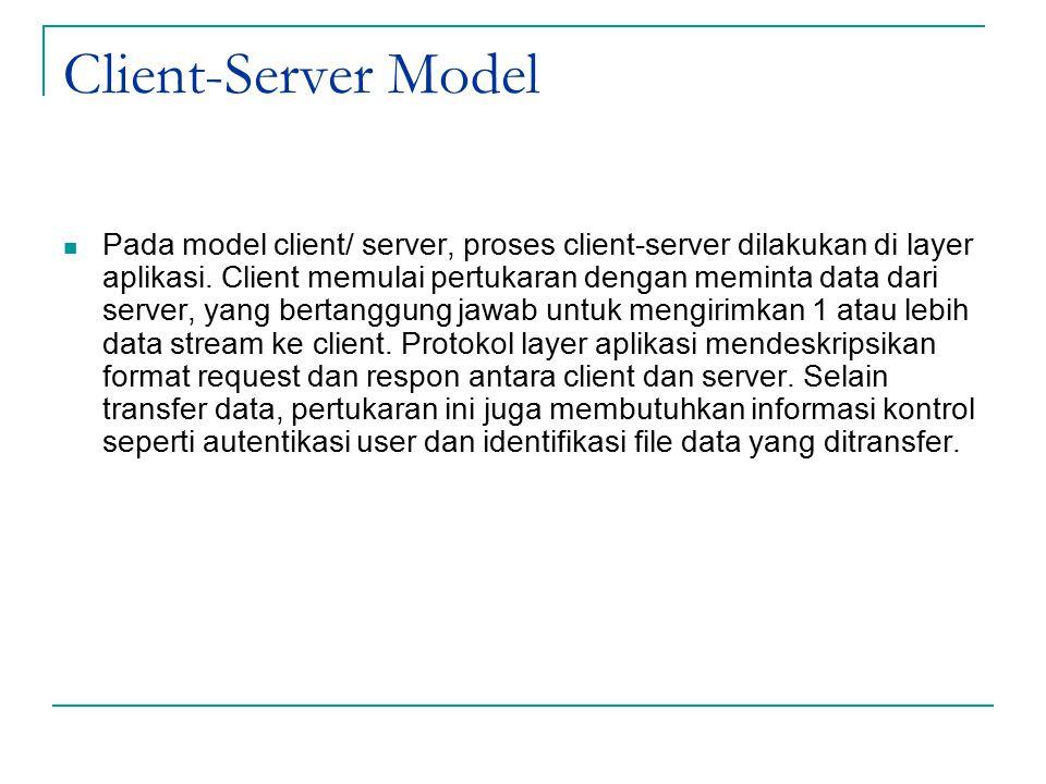 Client-Server Model Pada model client/ server, proses client-server dilakukan di layer aplikasi. Client memulai pertukaran dengan meminta data dari se
