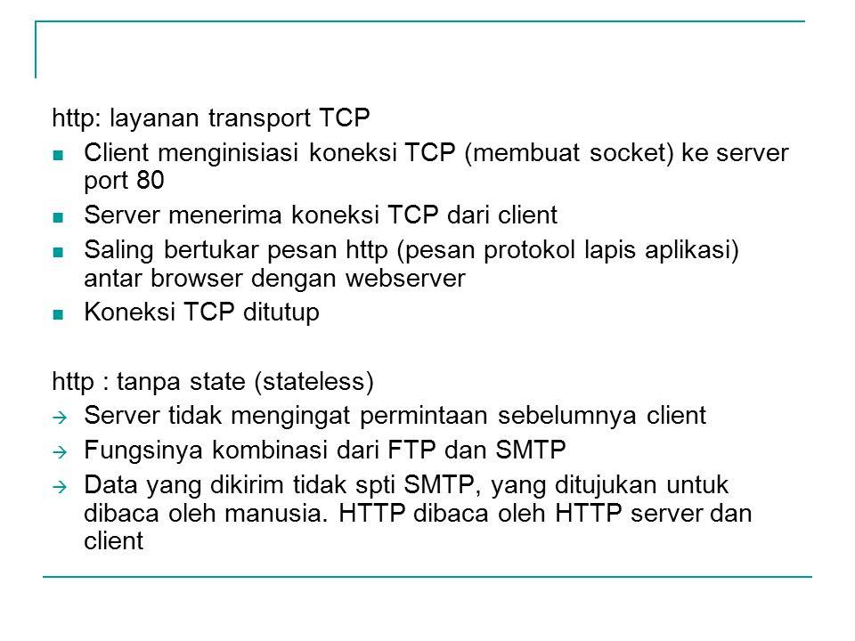 http: layanan transport TCP Client menginisiasi koneksi TCP (membuat socket) ke server port 80 Server menerima koneksi TCP dari client Saling bertukar pesan http (pesan protokol lapis aplikasi) antar browser dengan webserver Koneksi TCP ditutup http : tanpa state (stateless)  Server tidak mengingat permintaan sebelumnya client  Fungsinya kombinasi dari FTP dan SMTP  Data yang dikirim tidak spti SMTP, yang ditujukan untuk dibaca oleh manusia.