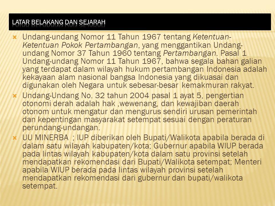  Undang-undang Nomor 11 Tahun 1967 tentang Ketentuan- Ketentuan Pokok Pertambangan, yang menggantikan Undang- undang Nomor 37 Tahun 1960 tentang Pert