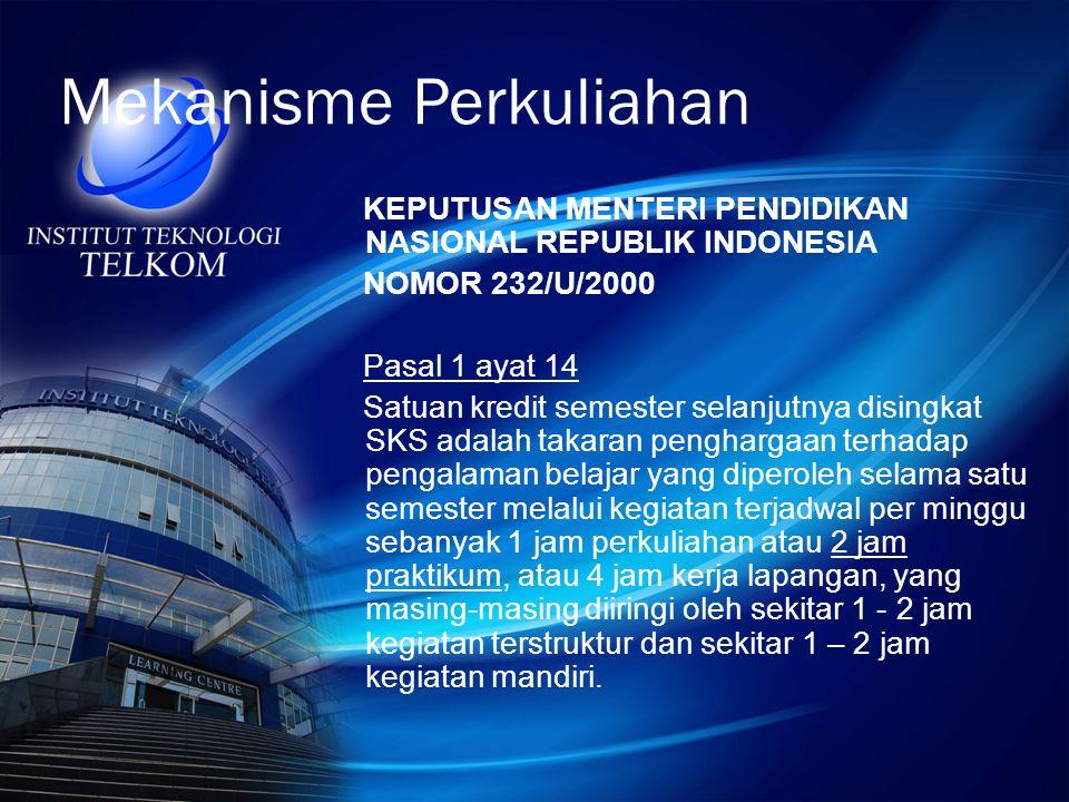 Mekanisme Perkuliahan KEPUTUSAN MENTERI PENDIDIKAN NASIONAL REPUBLIK INDONESIA NOMOR 232/U/2000 Pasal 1 ayat 14 Satuan kredit semester selanjutnya dis