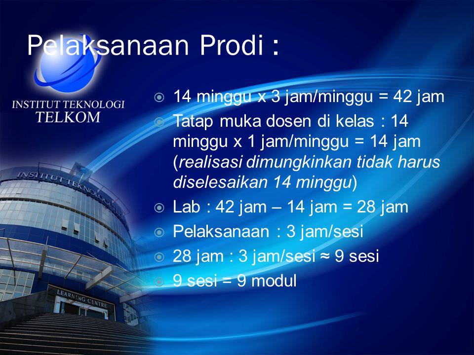 Pelaksanaan Prodi :  14 minggu x 3 jam/minggu = 42 jam  Tatap muka dosen di kelas : 14 minggu x 1 jam/minggu = 14 jam (realisasi dimungkinkan tidak