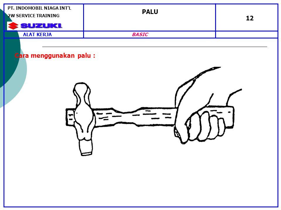 PALU 12 Cara menggunakan palu : ALAT KERJA PT. INDOMOBIL NIAGA INT'L 2W SERVICE TRAINING BASIC