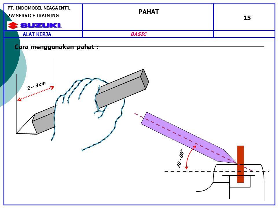 PAHAT 15 2 – 3 cm 70 - 80 Cara menggunakan pahat : ALAT KERJA PT.