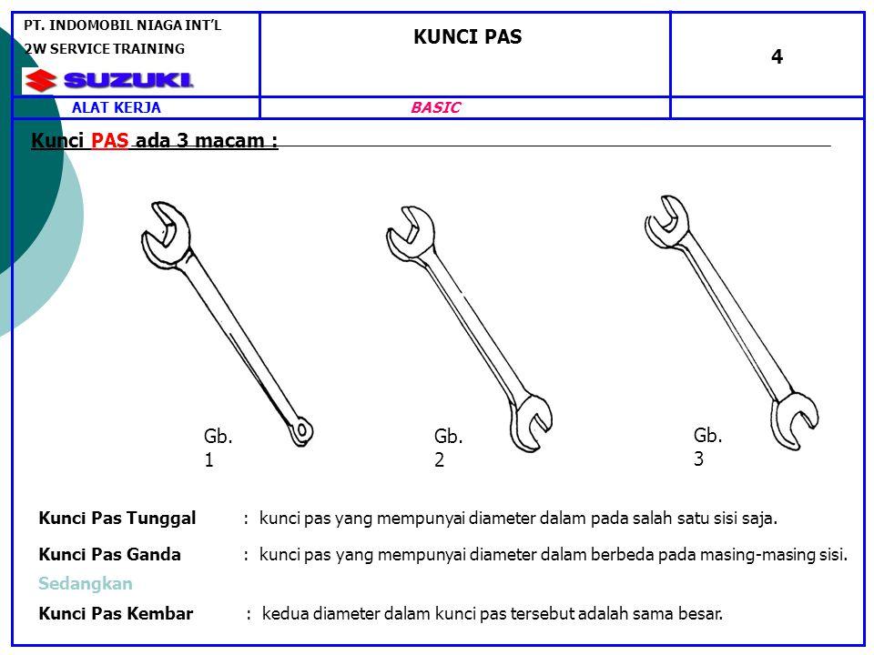 KUNCI PAS 4 Kunci PAS ada 3 macam : Kunci Pas Tunggal : kunci pas yang mempunyai diameter dalam pada salah satu sisi saja.