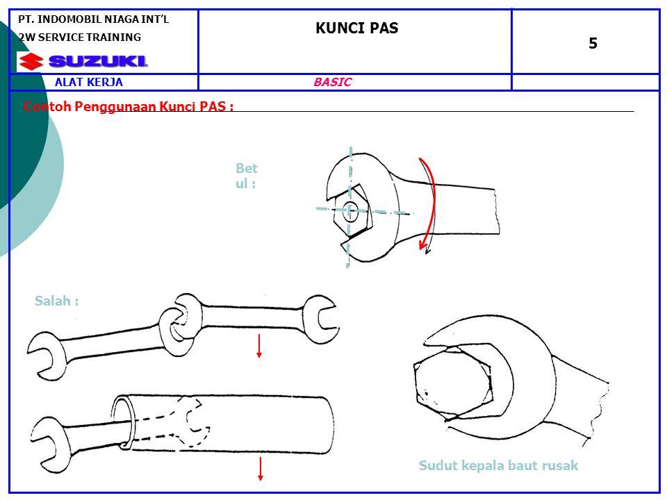 KUNCI PAS 5 Contoh Penggunaan Kunci PAS : Sudut kepala baut rusak Bet ul : Salah : ALAT KERJA PT.