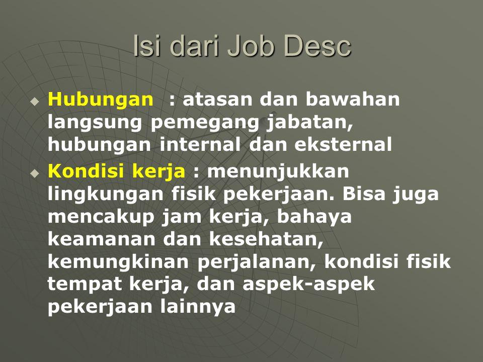 Isi dari Job Desc   Hubungan : atasan dan bawahan langsung pemegang jabatan, hubungan internal dan eksternal   Kondisi kerja : menunjukkan lingkun