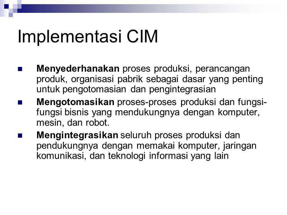 Implementasi CIM Menyederhanakan proses produksi, perancangan produk, organisasi pabrik sebagai dasar yang penting untuk pengotomasian dan pengintegra