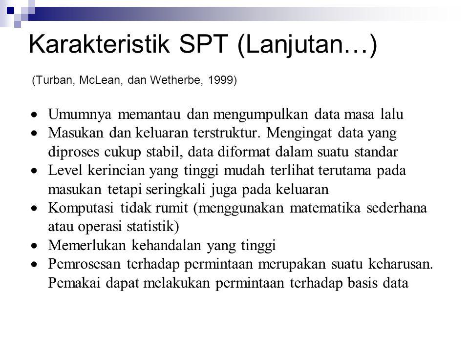 Karakteristik SPT (Lanjutan…) (Turban, McLean, dan Wetherbe, 1999)  Umumnya memantau dan mengumpulkan data masa lalu  Masukan dan keluaran terstrukt