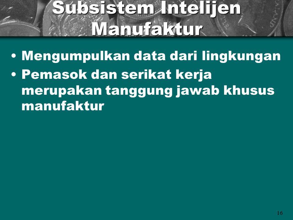 16 Subsistem Intelijen Manufaktur Mengumpulkan data dari lingkungan Pemasok dan serikat kerja merupakan tanggung jawab khusus manufaktur