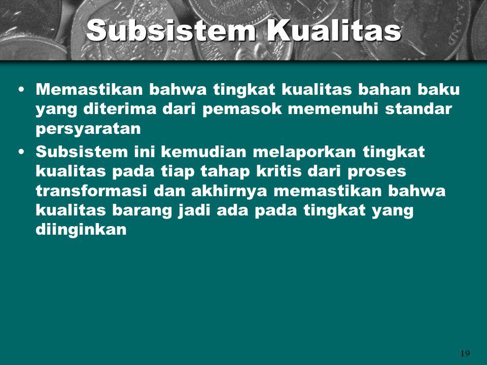 19 Subsistem Kualitas Memastikan bahwa tingkat kualitas bahan baku yang diterima dari pemasok memenuhi standar persyaratan Subsistem ini kemudian mela