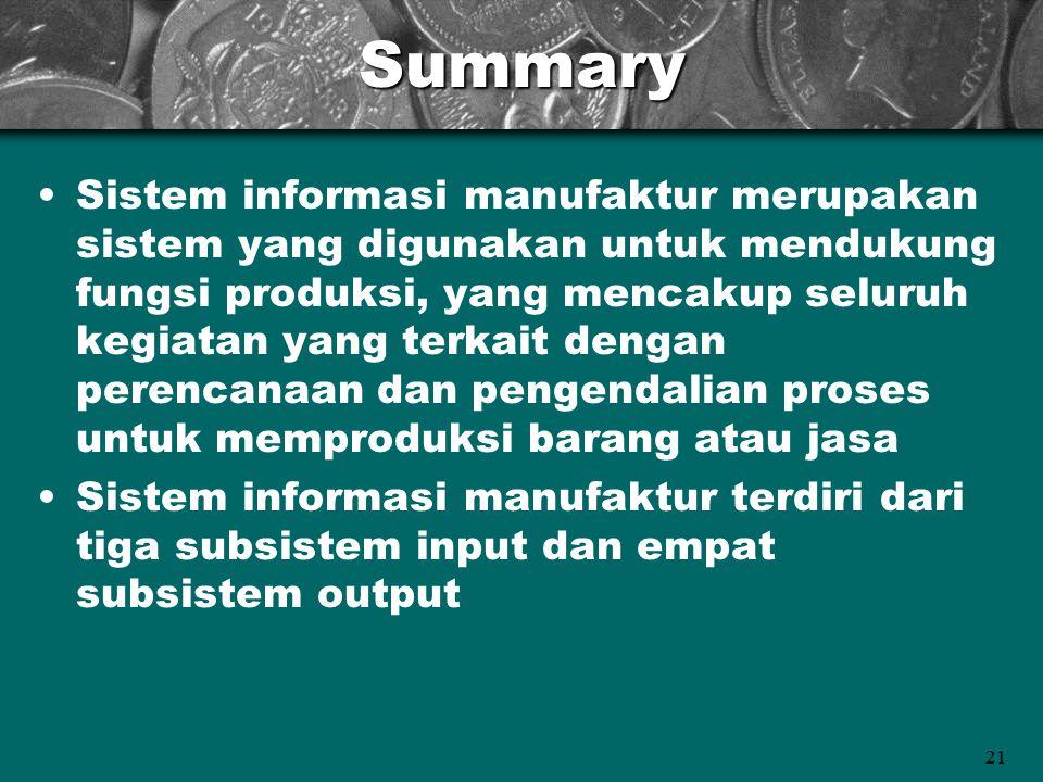 21Summary Sistem informasi manufaktur merupakan sistem yang digunakan untuk mendukung fungsi produksi, yang mencakup seluruh kegiatan yang terkait den