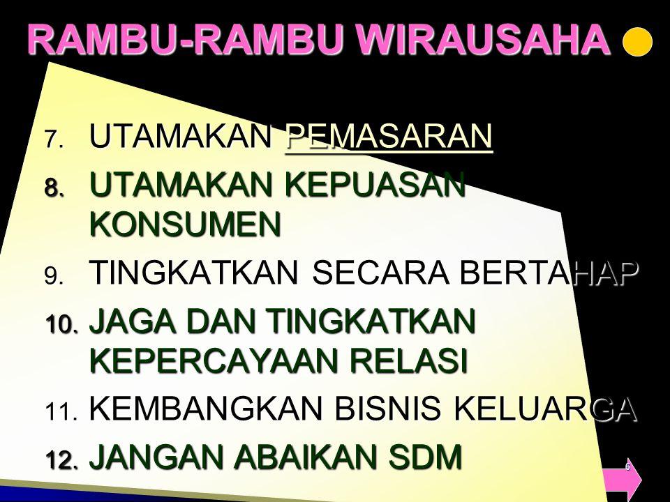 4/5/20156 RAMBU-RAMBU WIRAUSAHA 7. UTAMAKAN PEMASARAN PEMASARAN 8. UTAMAKAN KEPUASAN KONSUMEN 9. TINGKATKAN SECARA BERTAHAP 10. JAGA DAN TINGKATKAN KE
