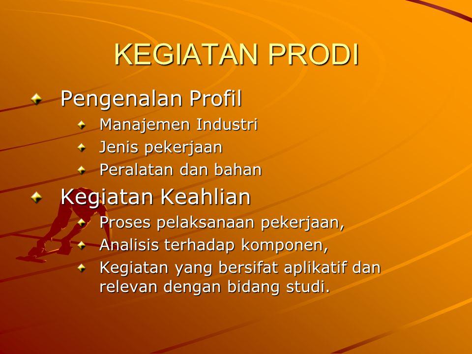 KEGIATAN PRODI Pengenalan Profil Manajemen Industri Jenis pekerjaan Peralatan dan bahan Kegiatan Keahlian Proses pelaksanaan pekerjaan, Analisis terha
