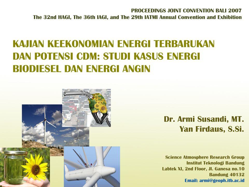 HASIL : Keekonomian Pengembangan Listrik Energi Angin Biaya Investasi Turbin Angin Biaya kapital untuk pemasangan turbin angin : Capacity Factor Production (kWh) Cost per kWh NPV @ 3% Rate IRR 25%3,613,500$0.05108 $ (704,681)1.31% 30%4,336,200$0.04258 $ (330,072)5.45% 35%5,058,900$0.03653 $ 44,5379.47% 40%5,781,600$0.03197 $ 419,14713.43% 45%6,504,300$0.02843 $ 793,75517.32% 50%7,227,000$0.02560 $1,168,36521.17% Tabel 1.