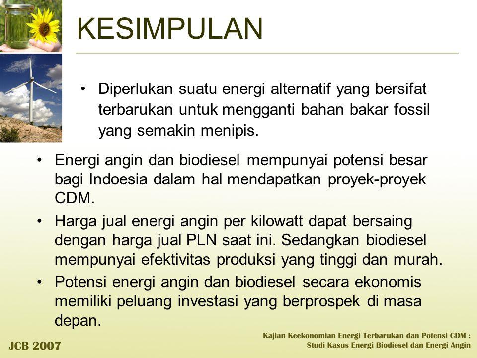 KESIMPULAN Diperlukan suatu energi alternatif yang bersifat terbarukan untuk mengganti bahan bakar fossil yang semakin menipis. Energi angin dan biodi