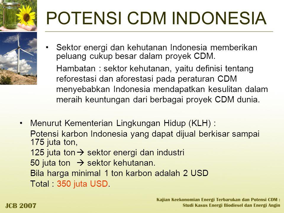 POTENSI CDM INDONESIA Sektor energi dan kehutanan Indonesia memberikan peluang cukup besar dalam proyek CDM. Hambatan : sektor kehutanan, yaitu defini