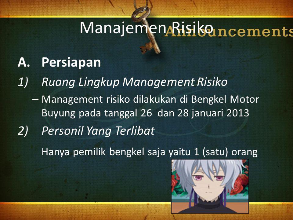 Manajemen Risiko A.Persiapan 1)Ruang Lingkup Management Risiko – Management risiko dilakukan di Bengkel Motor Buyung pada tanggal 26 dan 28 januari 20
