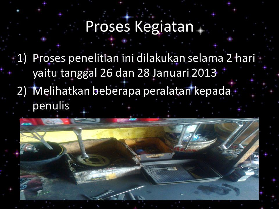 Proses Kegiatan 1)Proses penelitian ini dilakukan selama 2 hari yaitu tanggal 26 dan 28 Januari 2013 2)Melihatkan beberapa peralatan kepada penulis