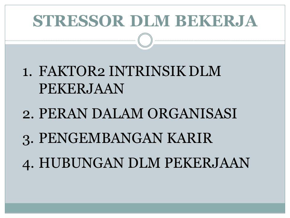STRESSOR DLM BEKERJA 1.FAKTOR2 INTRINSIK DLM PEKERJAAN 2.PERAN DALAM ORGANISASI 3.PENGEMBANGAN KARIR 4.HUBUNGAN DLM PEKERJAAN
