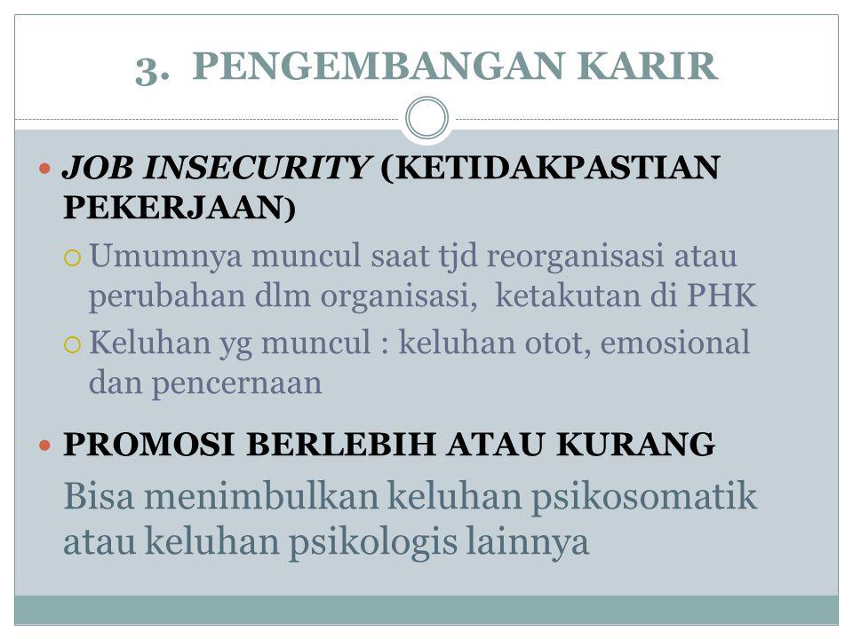 3. PENGEMBANGAN KARIR JOB INSECURITY (KETIDAKPASTIAN PEKERJAAN )  Umumnya muncul saat tjd reorganisasi atau perubahan dlm organisasi, ketakutan di PH