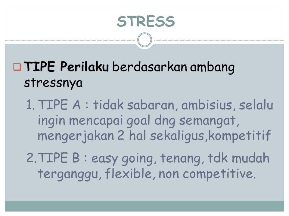 STRESS  TIPE Perilaku berdasarkan ambang stressnya 1.TIPE A : tidak sabaran, ambisius, selalu ingin mencapai goal dng semangat, mengerjakan 2 hal sek